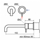 Flow wastafelkraan inbouw 15cm | chroom